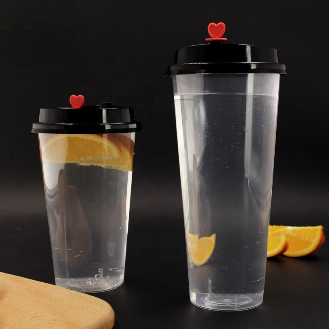 22 OZ disposable PP plastic drinking cup milky tea cups with lid