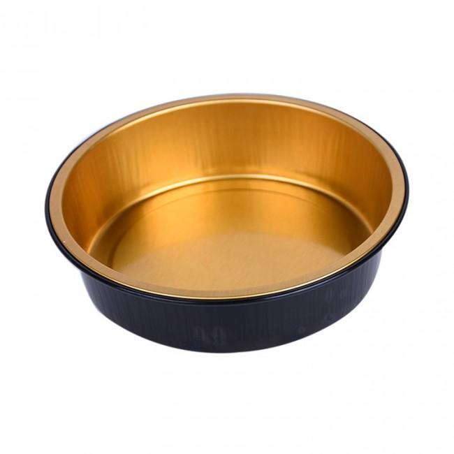 250ml black aluminium food container round with lid