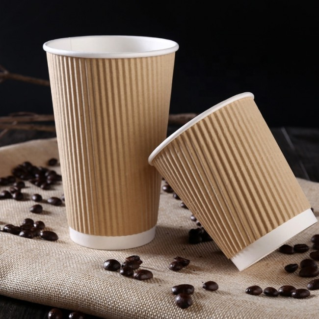 Disposable triple wall with sleeve 7oz tea paper cup with lid cover for plant