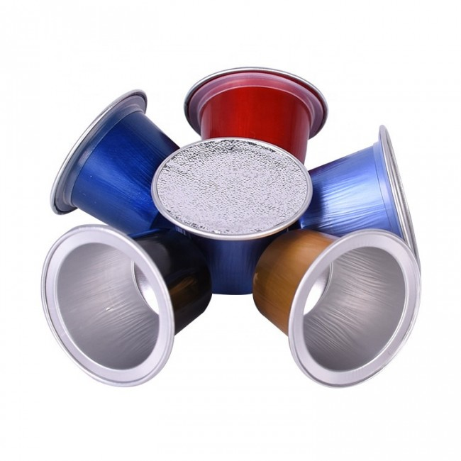 High quality aluminum foil empty coffee capsule with sticker